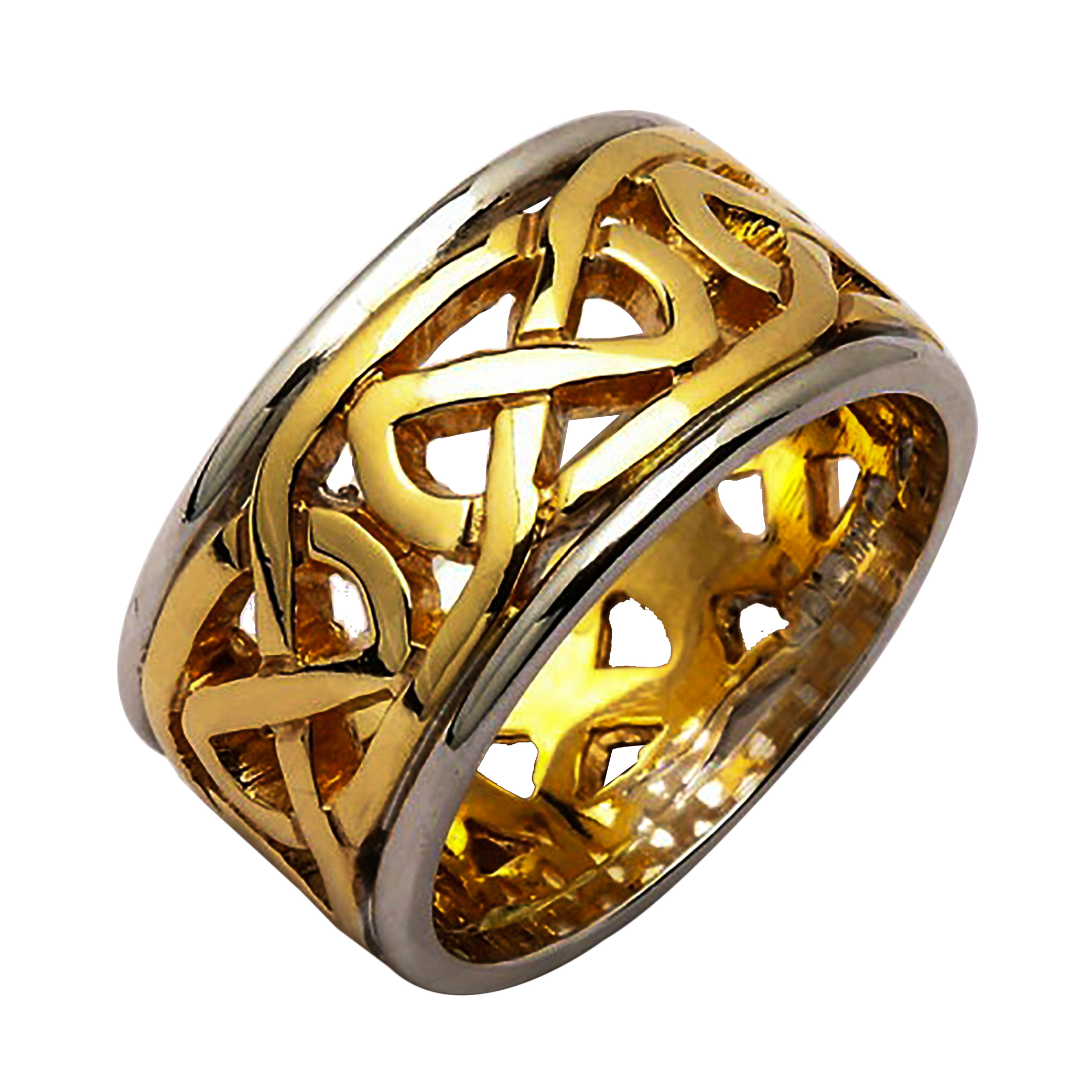 irish two tone wedding ring celtic knots 14 karat or 18 karat gold