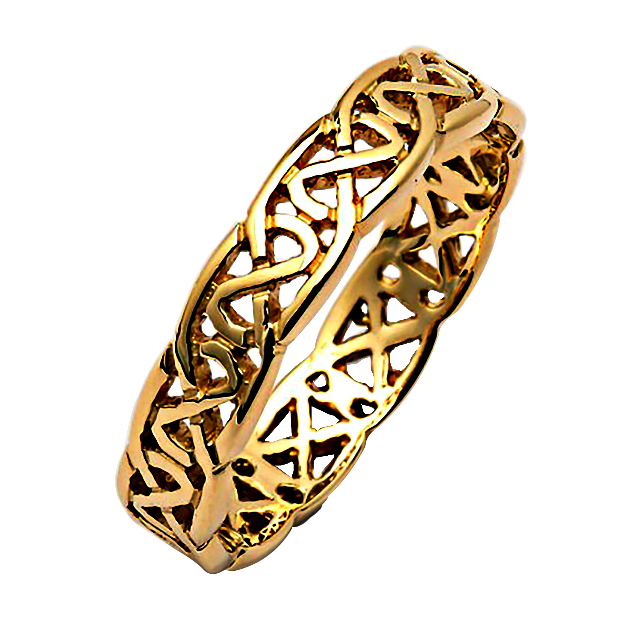 band wide ring trinity wedding ladies irish gold celtic rings knot at silver cz