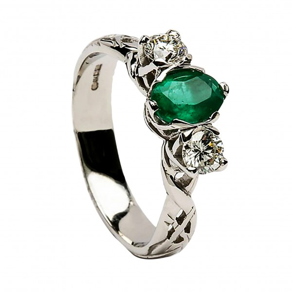 Emerald & Diamond White Gold Celtic Ring - 18K Gold Livia Collection