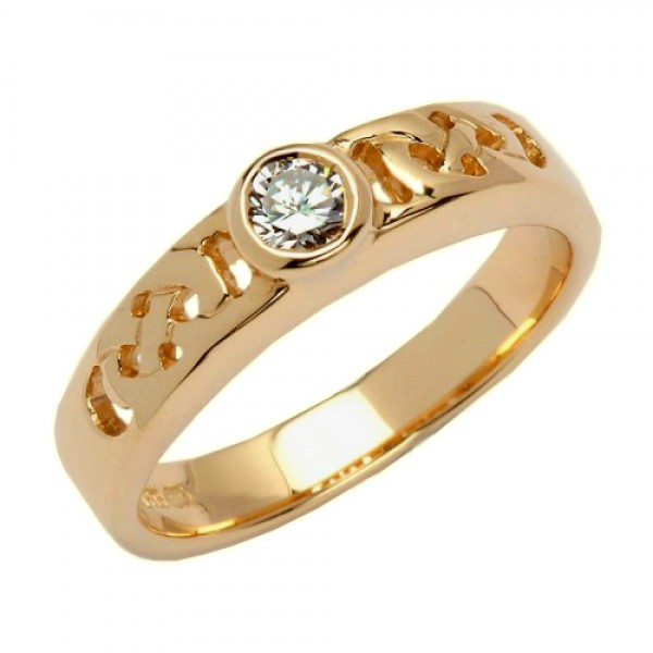 Gold Celtic Knot Ring with Diamond - 14K Gold Celtic Wedding Rings