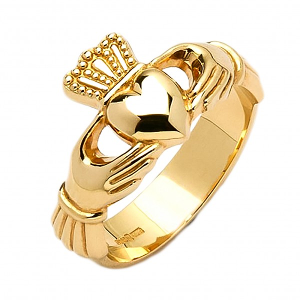 Gold Claddagh Ring - Cong - 14K Gold 14 Karat Gold Rings