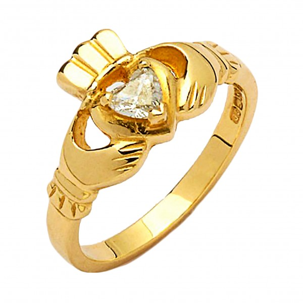 Gold Claddagh Ring with Diamond - Cashel - 14K Gold Diamond Rings
