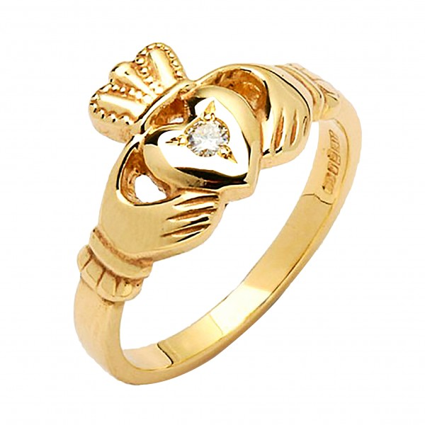 Gold Claddagh Ring with Diamond - Ree - 14K Gold Diamond Rings
