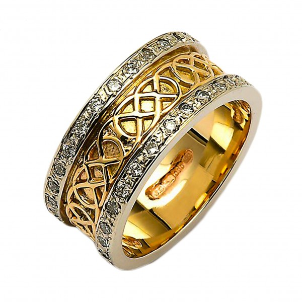 Gold & Diamond Celtic Knot Ring - 14K Gold Celtic Wedding Rings