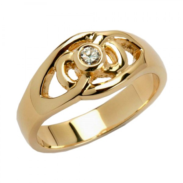 Gold Celtic Knot Ring with Diamond - 14K Gold Diamond Rings
