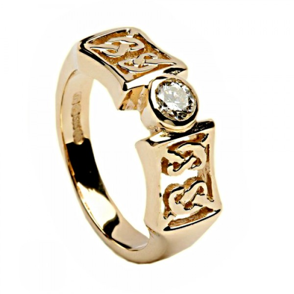 Irish Gold and Diamond Ring Celtic Knots - 14K Gold Celtic Wedding Rings