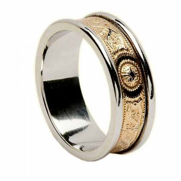 Irish Two Tone Wedding Ring - An Slí (The Journey) - 14K Gold Wedding Rings