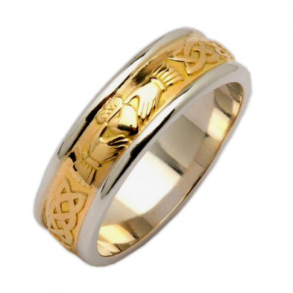 Irish Two Tone Wedding Ring - Claddagh Corrib Celtic Wedding Rings