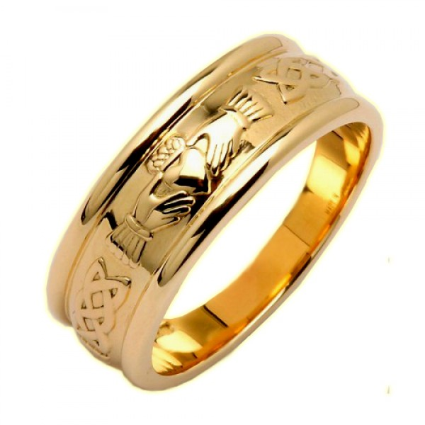 Irish Wedding Ring - Claddagh Corrib Wide Celtic Wedding Rings