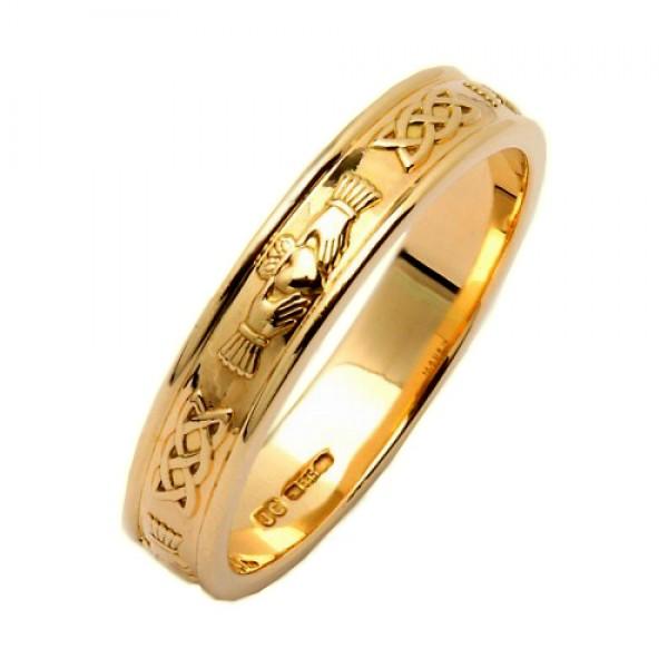 e7cd5b93acce72 Irish Wedding Ring - Claddagh Corrib - 14K Gold 14 Karat Gold Rings