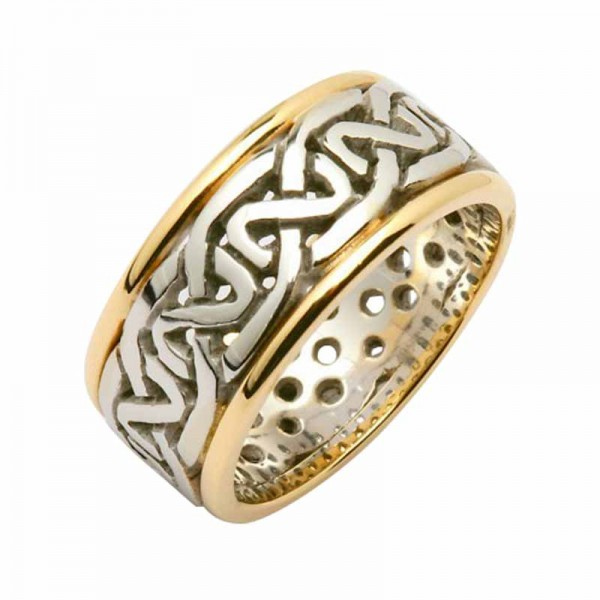 Irish Two Tone Wedding Ring - Celtic Knots Wide - 14K Gold Wedding Rings