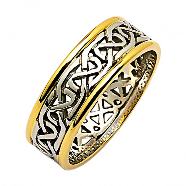 Irish Two Tone Wedding Ring - Celtic Knots - 14K Gold 14 Karat Gold Rings