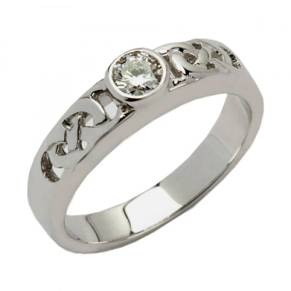 White Gold Celtic Knot Diamond Solitaire - 14K Gold Celtic Wedding Rings