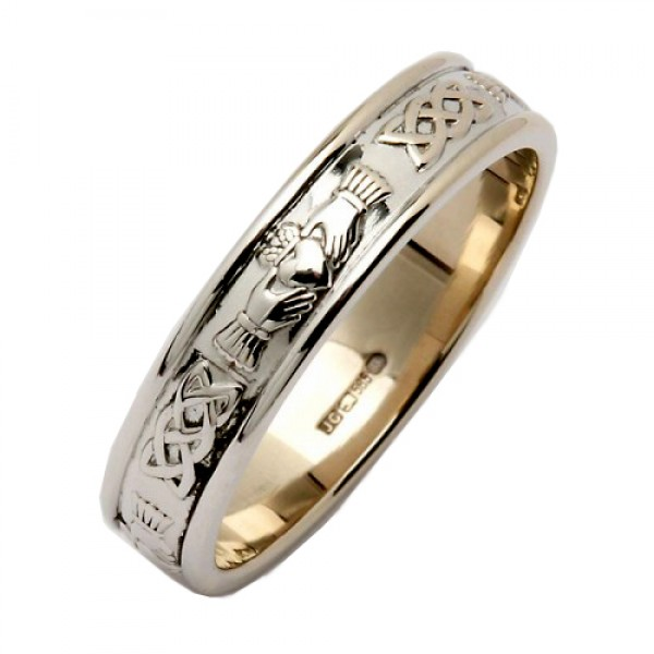 White Gold Wedding Ring - Claddagh Corrib Celtic Wedding Rings