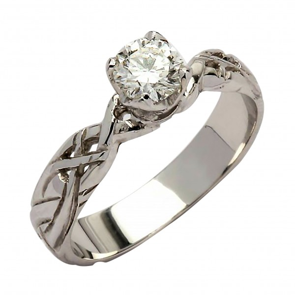 White Gold Diamond Ring 0.33 Ct with Celtic Knots - 18K Gold Livia Collection