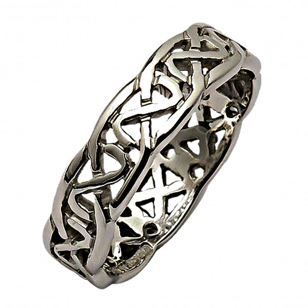 White Gold Wedding Ring - Trinity Knots Celtic Wedding Rings