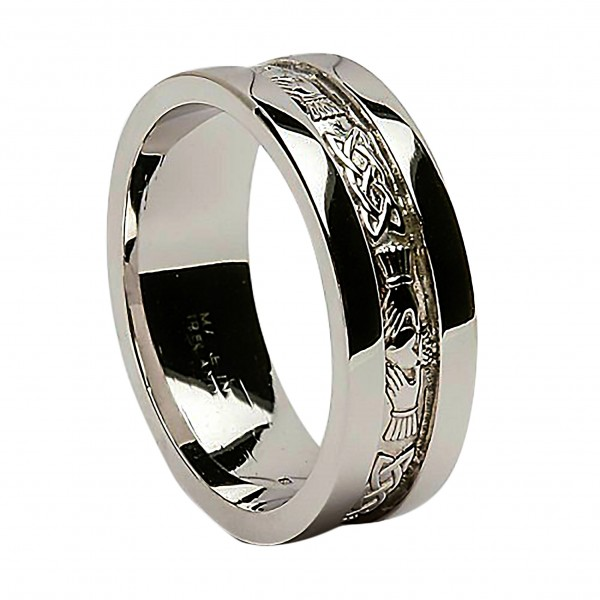 White Gold Wedding Ring - Claddagh Corrib Wide Sides  Celtic Wedding Rings