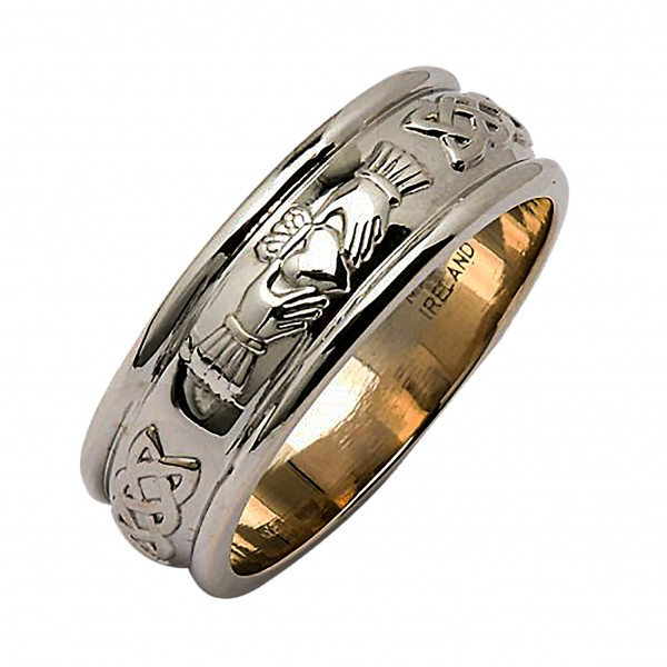 White Gold Wedding Ring - Claddagh Corrib Wide Celtic Wedding Rings