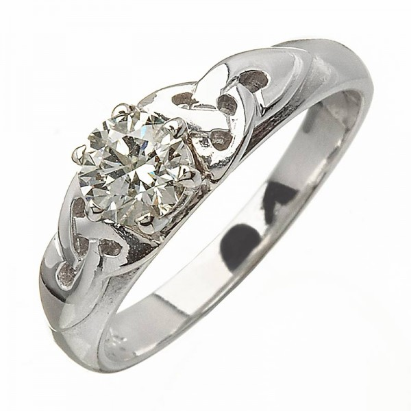 White Gold Diamond Ring with Celtic Knots - 14K Gold Diamond Rings