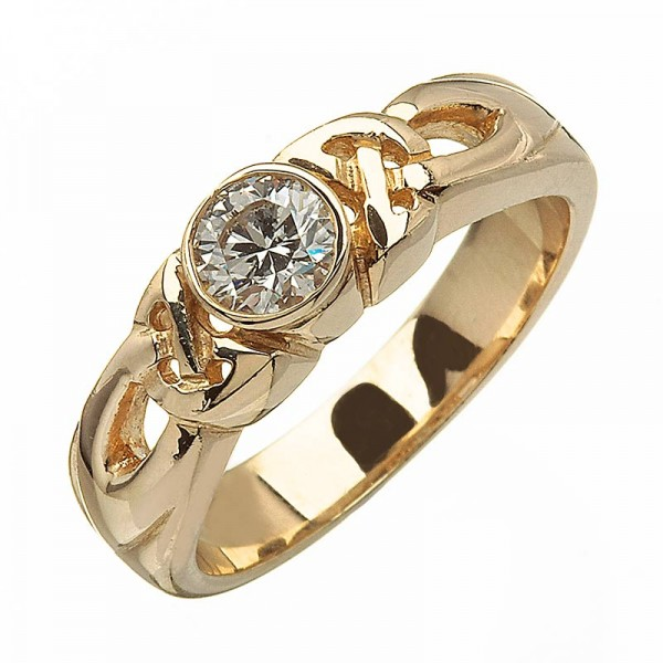 Yellow Gold Diamond Ring with Trinity - 14K Gold Diamond Rings