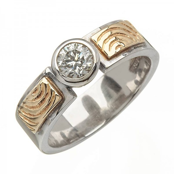 Gold Two Tone Diamond 0.5 Carat Ring - 14K Gold Celtic Wedding Rings