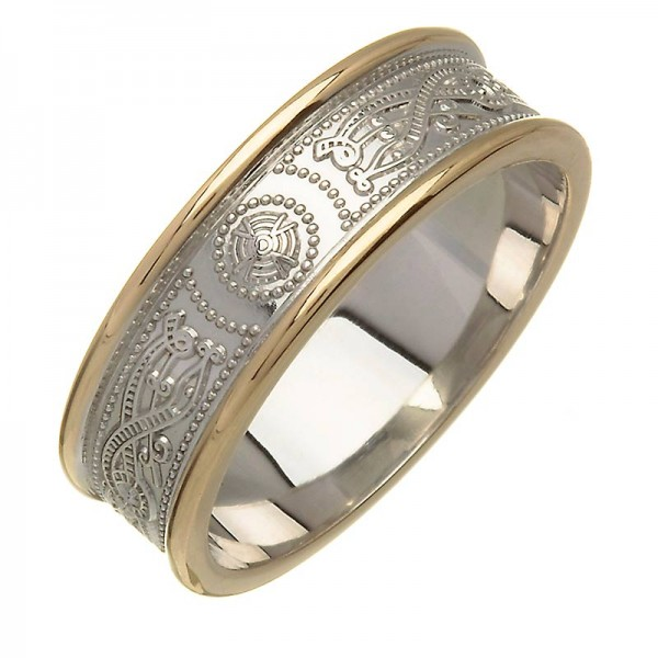 Irish Two Tone Wedding Ring - An Slí (The Journey) - 14K Gold Celtic Wedding Rings