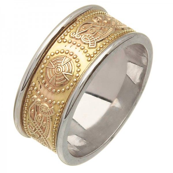 Irish Two Tone Wedding Ring - An Slí (The Journey) - Wide  Celtic Wedding Rings