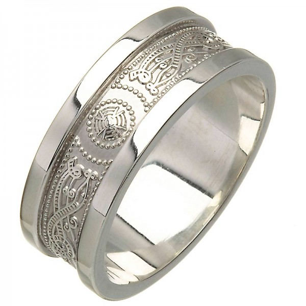 White Gold Wedding Ring - An Slí (The Journey) Wide Sides - 14K Gold 14 Karat Gold Rings