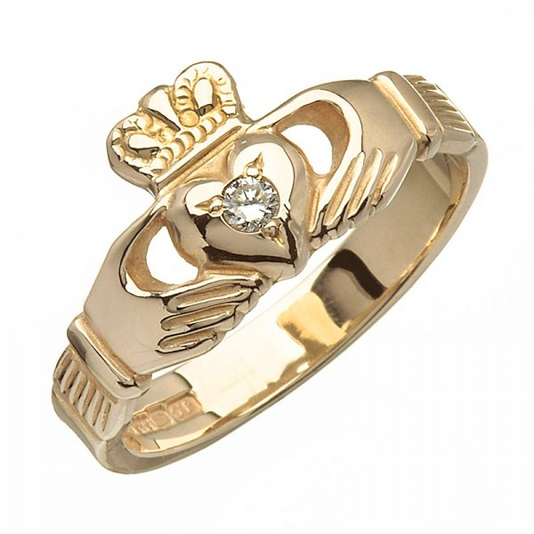Gold Claddagh Ring with Diamond - Blarney - 14K Gold Diamond Rings
