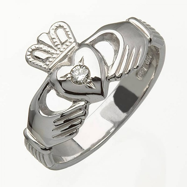 White Gold Claddagh Ring with Diamond - Ross - 14K Gold Diamond Rings