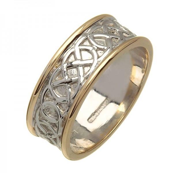 Irish Two Tone Wedding Ring - Celtic Knots - 18K Gold 18 Karat Gold Rings