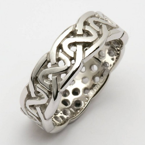 white gold wedding ring celtic knots 18k gold wedding