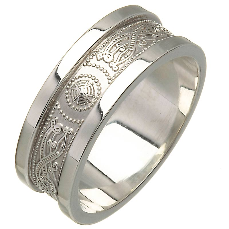 0f010431ef27a1 White Gold Wedding Ring - An Slí (The Journey) Wide Sides Celtic Wedding  Rings