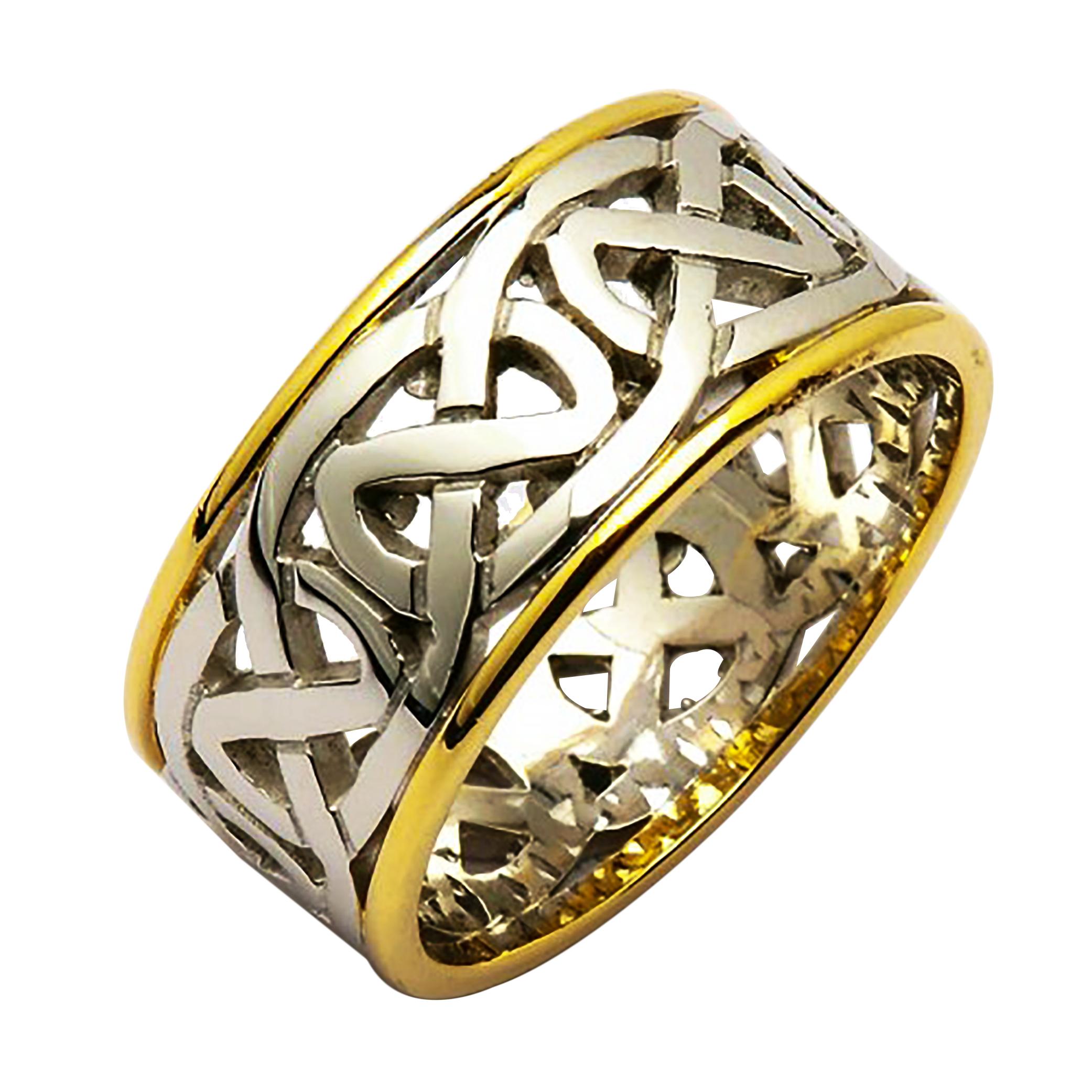 Irish Two Tone Wedding Ring Celtic Knots Gold Irish Wedding Ring